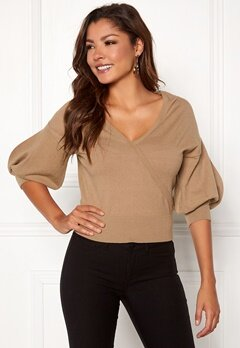Chiara Forthi Cameo knitted puff sleeve sweater Beige Bubbleroom.no
