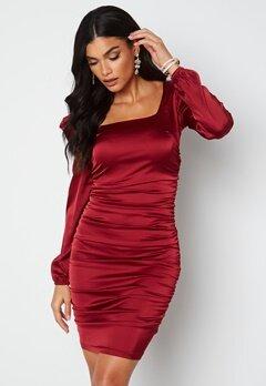 Chiara Forthi Cannelita Ruched Dress Dark red bubbleroom.no