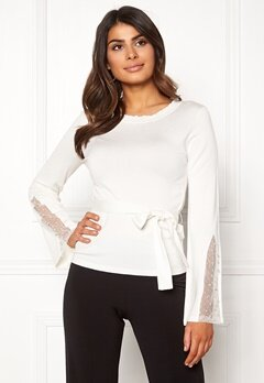 Chiara Forthi Caprice knitted pearl sweater Winter white Bubbleroom.no