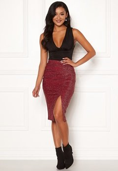 Chiara Forthi Caravella sparkling slit skirt Dark red Bubbleroom.no
