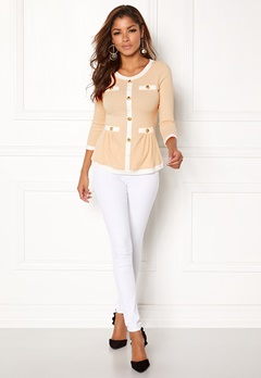 Chiara Forthi Cardi Peplum Top Beige / Natural white / Gold Bubbleroom.no