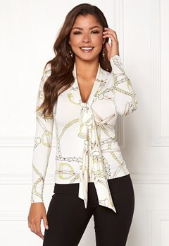 Chiara Forthi Chania bow top Offwhite / Gold / Patterned Bubbleroom.no