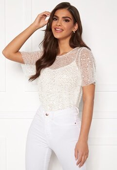 Chiara Forthi Chrystal sequined top Light offwhite Bubbleroom.no