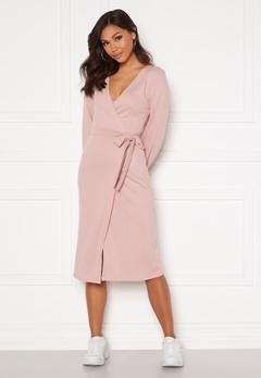 Chiara Forthi Corina rib wrap midi dress Dusty pink Bubbleroom.no