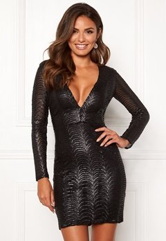 Chiara Forthi Demi deep v-neck sequin dress Black Bubbleroom.no
