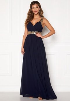 Chiara Forthi Diana Gown Dark blue / Gold Bubbleroom.no