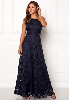 Chiara Forthi Elaine lazer cut gown Dark blue Bubbleroom.no