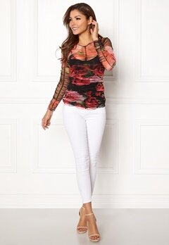 Chiara Forthi Elena Mesh Top Red / Floral Bubbleroom.no