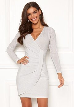 Chiara Forthi Elena sparkling wrap dress White / Silver Bubbleroom.no