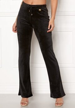 Chiara Forthi Elvira velour bootcut pants Black Bubbleroom.no