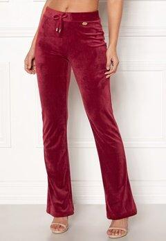 Chiara Forthi Elvira velour bootcut pants Wine-red Bubbleroom.no