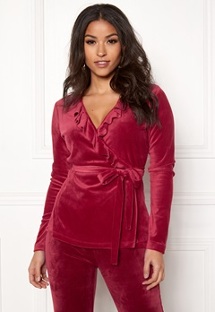 Chiara Forthi Elvira velour wrap top Wine-red Bubbleroom.no
