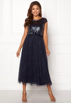 Chiara Forthi Estelle sequin top gown Navy Bubbleroom.no