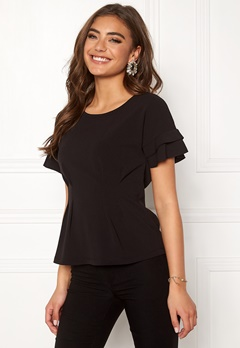 Chiara Forthi Fernanda frill top Black Bubbleroom.no