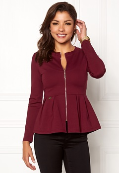 Chiara Forthi Fiorenza peplum jacket Wine-red Bubbleroom.no