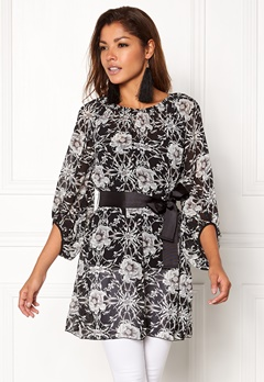 Chiara Forthi Floral Chiffon Dress Black / Floral Bubbleroom.no