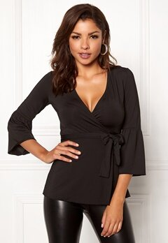 Chiara Forthi Francesca Wrap Top Black Bubbleroom.no