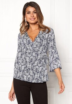 Chiara Forthi Francesca Wrap Top White / Blue Bubbleroom.no