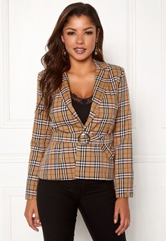 Chiara Forthi Franka belted jackt Checked / Beige / Red Bubbleroom.no