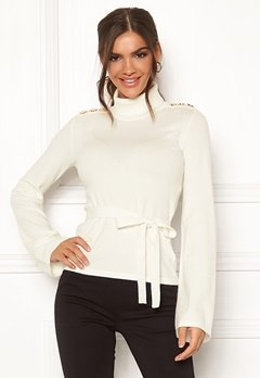 Chiara Forthi Gaby fine knitted tie sweater Offwhite Bubbleroom.no