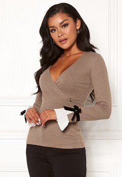 Chiara Forthi Gigliola cashmere-feel wrap top Light brown Bubbleroom.no