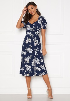 Chiara Forthi Giulia Puff Sleeve Dress Navy / Floral Bubbleroom.no