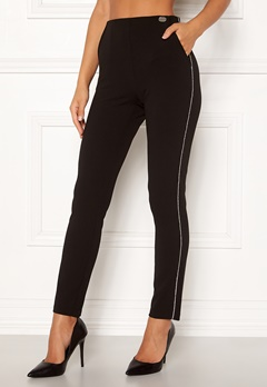 Chiara Forthi Gloria sparkle stripe pants Black Bubbleroom.no
