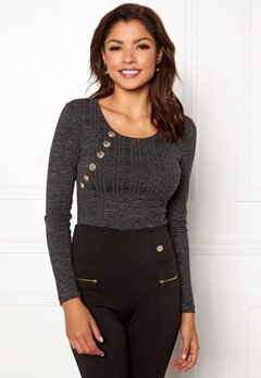 Chiara Forthi Hailey top Dark grey melange Bubbleroom.no