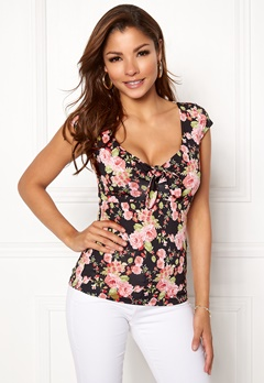 Chiara Forthi Inez Top Black / Floral Bubbleroom.no