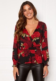 Chiara Forthi Jennica wrap smock top Black / Red / Floral Bubbleroom.no
