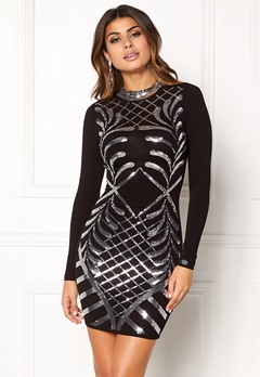 Chiara Forthi Lavinia Sequin Dress Black / Silver Bubbleroom.no