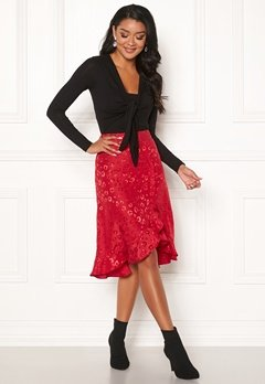 Chiara Forthi Leila Flounce Buttoned Skirt Red Bubbleroom.no