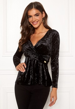 Chiara Forthi Lumina velvet peplum Top Black Bubbleroom.no