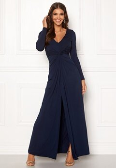 Chiara Forthi Madonna draped gown Navy Bubbleroom.no
