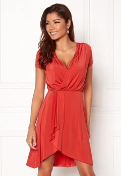 Chiara Forthi Malvina Draped Short Dress Red Bubbleroom.no