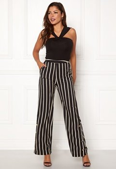 Chiara Forthi Martirir buttoned wide pants Black / Striped Bubbleroom.no