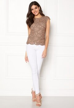 Chiara Forthi Michelle Lace Top Light nougat Bubbleroom.no