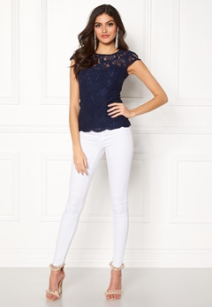 Chiara Forthi Michelle Lace Top Navy Bubbleroom.no