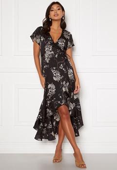 Chiara Forthi Nadine wrap flounce dress Black / Patterned Bubbleroom.no