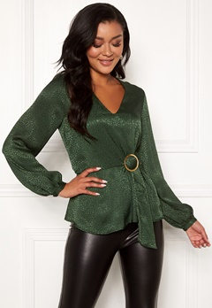 Chiara Forthi Noemi buckle wrap blouse Emerald green Bubbleroom.no