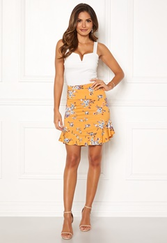 Chiara Forthi Nunzia frill jersey skirt  Yellow / Floral Bubbleroom.no