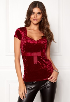 Chiara Forthi Piubella Velvet Top Wine-red Bubbleroom.no