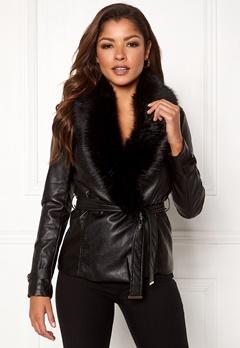 Chiara Forthi Positano Faux Fur Collar Jacke Black Bubbleroom.no