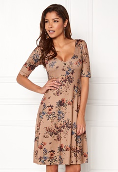 Chiara Forthi Saba Deep V-neck Dress Beige / Floral Bubbleroom.no