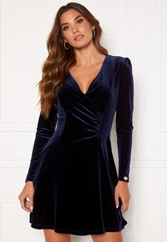 Chiara Forthi Serena drape dress Navy Bubbleroom.no