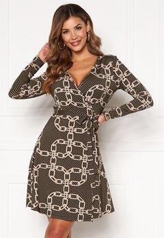 Chiara Forthi Sonnet Mini Wrap Dress Black / Patterned Bubbleroom.no