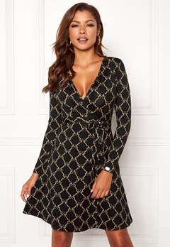 Chiara Forthi Sonnet Mini Wrap Dress Black Bubbleroom.no