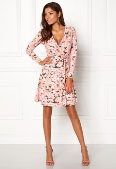 Chiara Forthi Sonnet Mini Wrap Dress Pink / Floral Bubbleroom.no