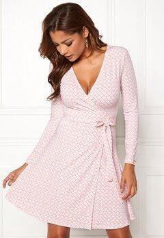 Chiara Forthi Sonnet Mini Wrap Dress Pink / White Bubbleroom.no