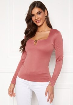 Chiara Forthi Bettina deep v-neck l/s top Dark old rose Bubbleroom.no